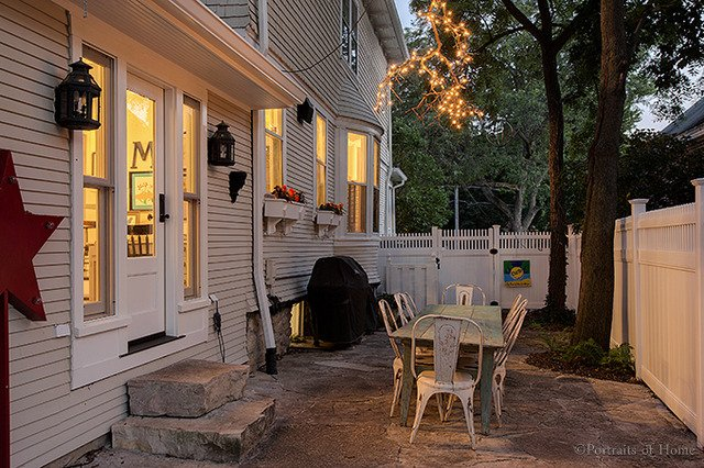 1893 historic house for sale in Glen Ellyn IL has this private outside dining area