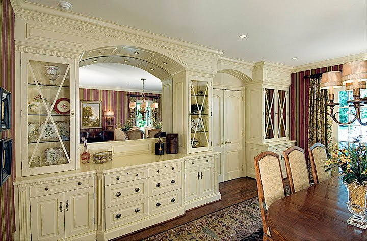 English style dining Room with custom built cabinets