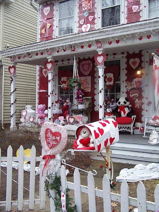 red house decorated for Valentine's Day