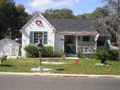 house decorated Valentine's