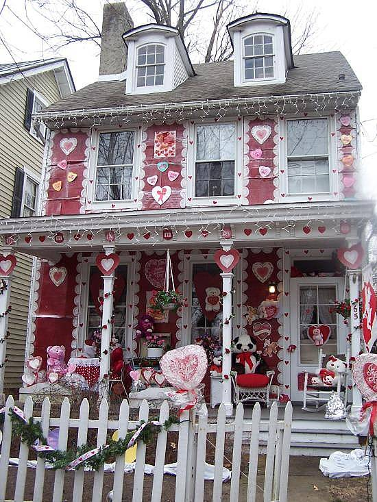 house decorated for Valentine's Day