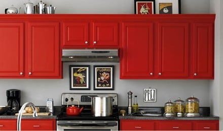red kitchen cabinets image