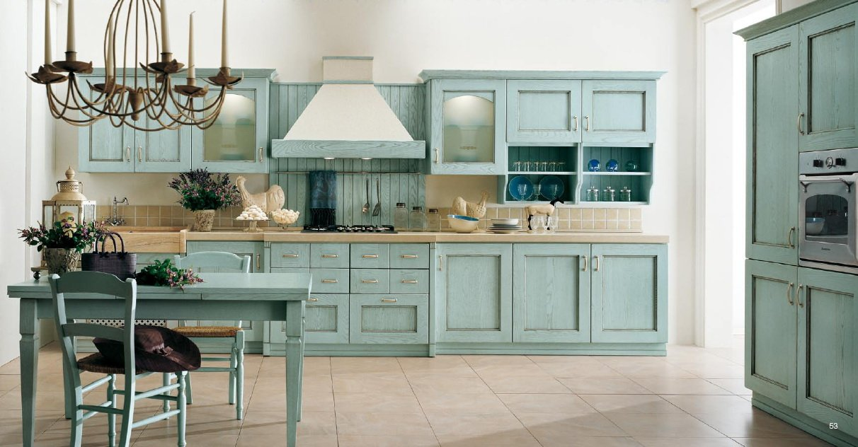 Turquoise or aqua. what a wonderfully colored kitchen to wake up to