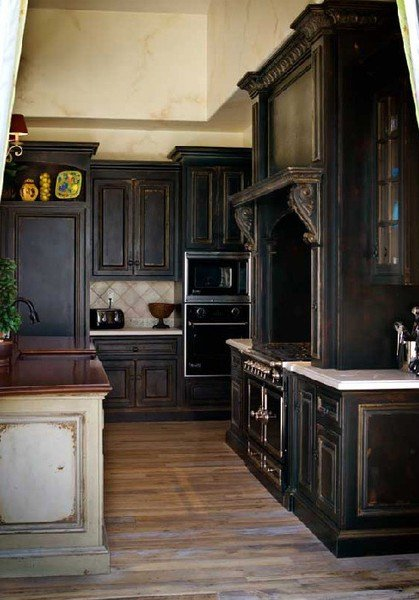 really like these black cabinets for their drama. Black is the color