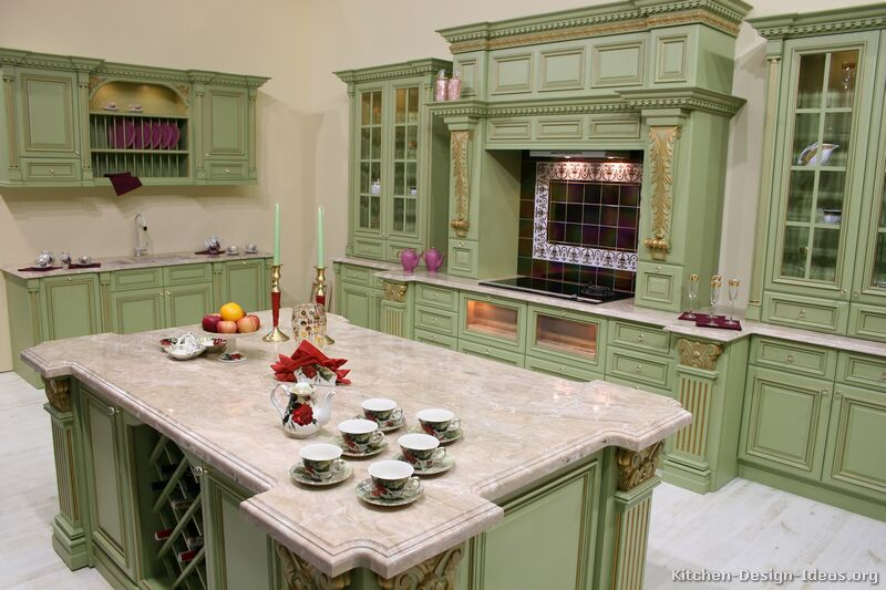 green kitchen cabinets image