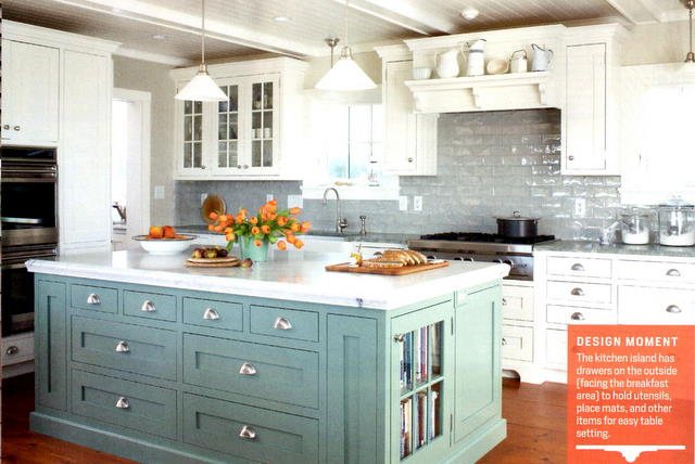 Robin Egg Blue Colored Kitchen Cabinets Island