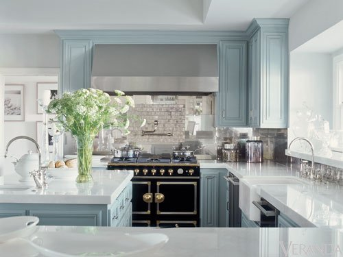 Robin egg blue colored kitchen cabinets