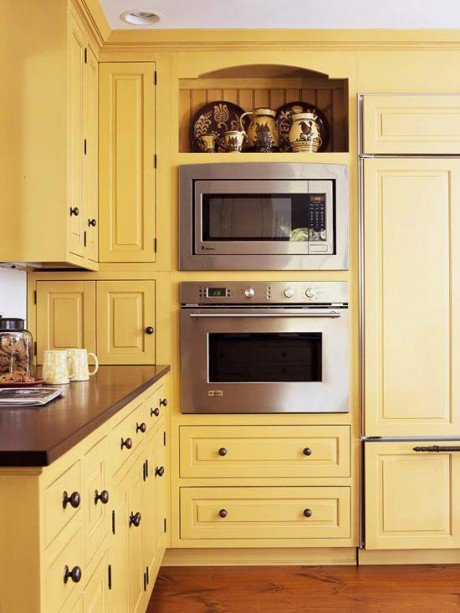 soft yellow cabinets
