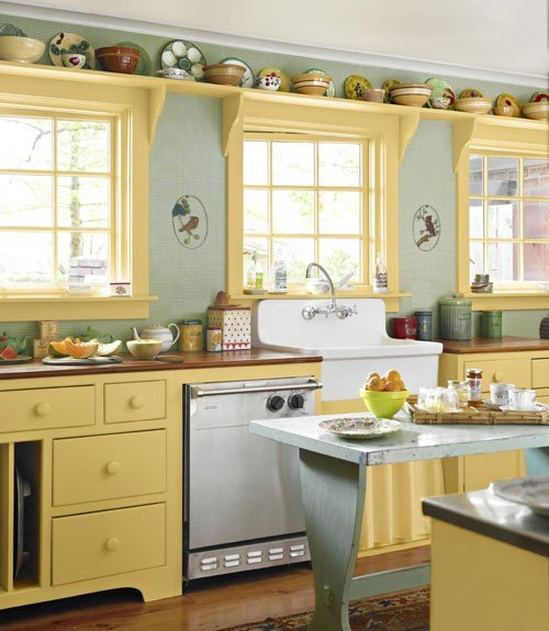 Yellow Colored Kitchen Cabinets With A Robin Egg Blue