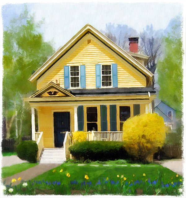 Image Yellow house Easter