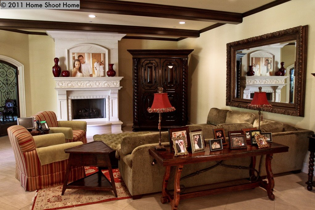 Family Room in a Spanish - Mediterranean home