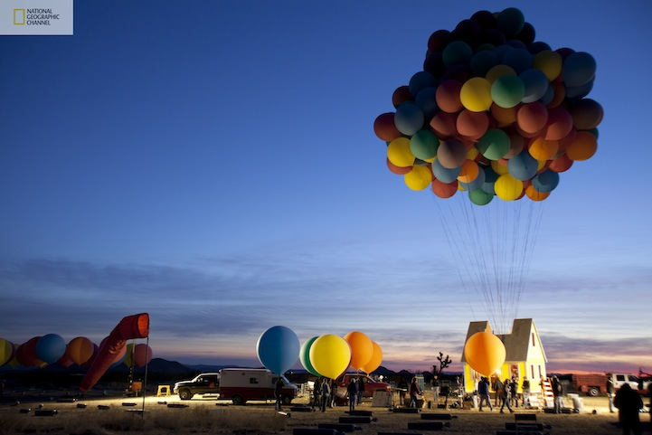 Real flying Up house experiment - attaching the balloons in the early morning - National Geographic