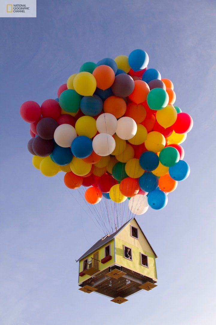 Real flying house experiment was a success - houses can fly just like the UP movie house