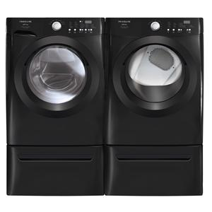 black washer and dryer