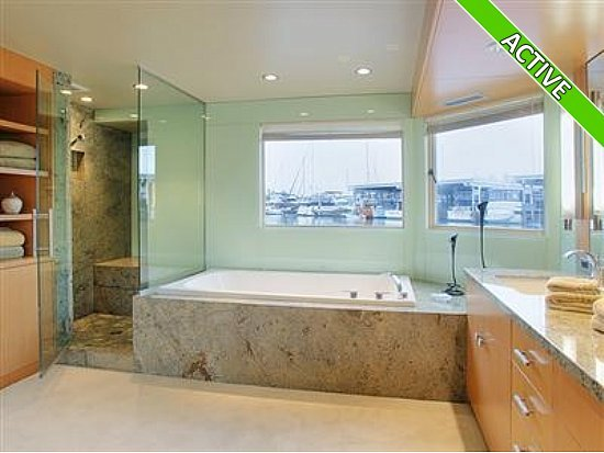 photo of bathroom in a houseboat