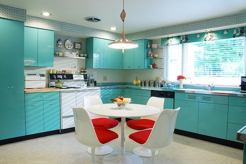 Medium image of turquoise retro style kitchen