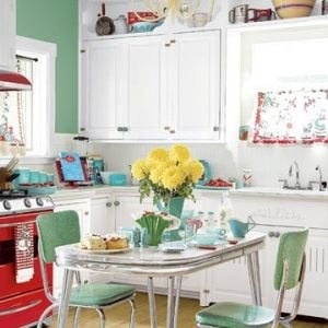 Retro kitchen white and green via blog.ebates.com