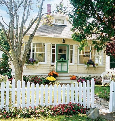 Little Yellow Houses, this one has green trim and looks adorable