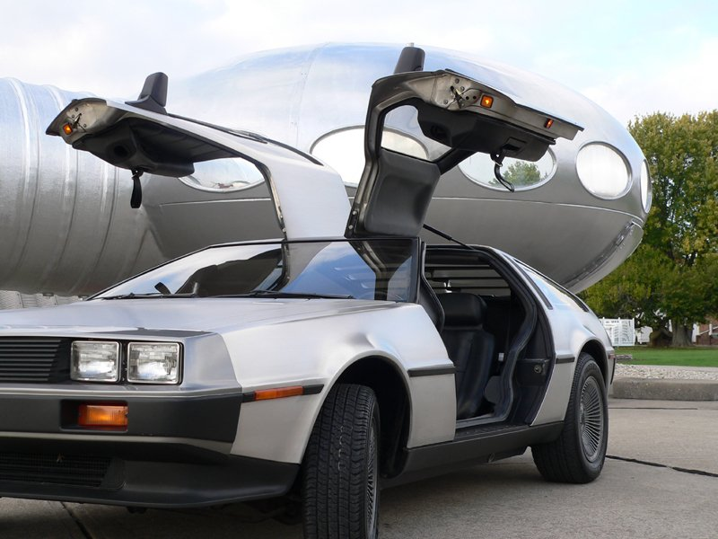 futuro house and delorean car