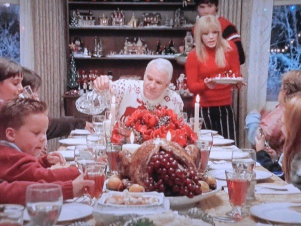 Christmas table scene Cheaper By The Dozen