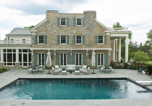 Traditional exterior with teal shutters 2
