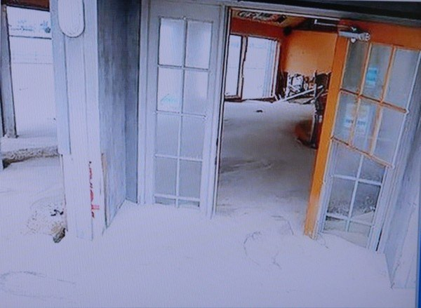 Sand damage is inside the house