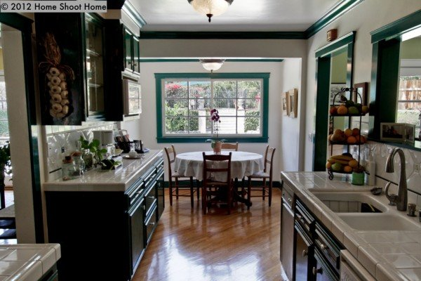 colored kitchen cabinets in ranch kitchen