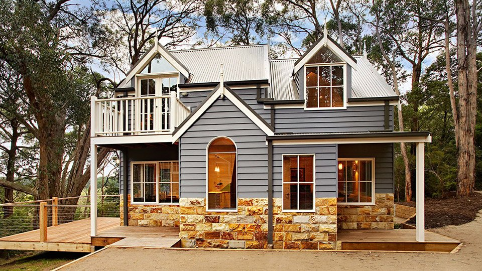 Wonderful close up view of this cottage designed new house. Its