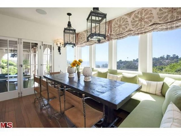 Celebrity Hillary Swank's House in Pacific Palisades California - dining room