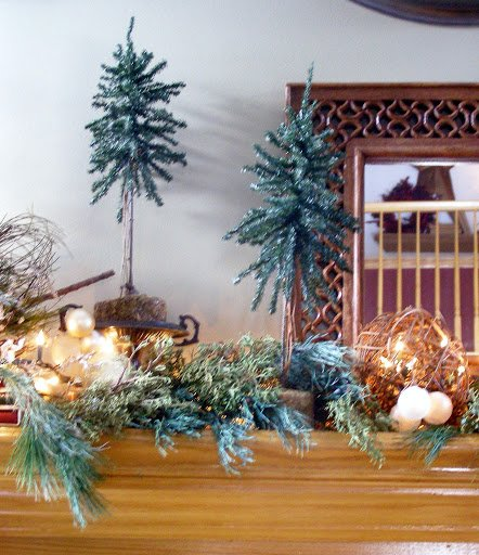 Close up photo of Christmas mantle