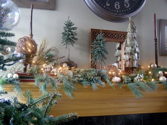 christmas mantle with gold and silver balls