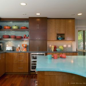 turquoise concrete kitchen countertops