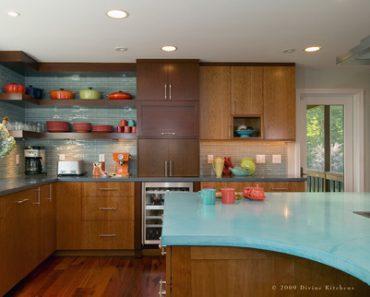 turquoise concrete kitchen countertops