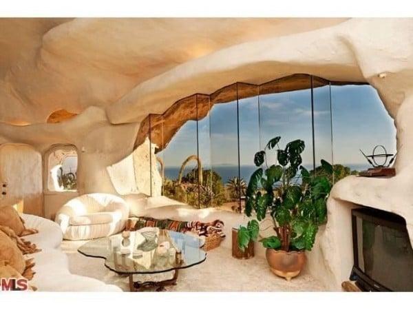 Unusual Dick Clark Flintstones House living room