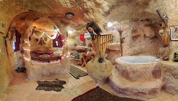 Unusual Flintstones Bedrock house bathroom
