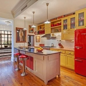 Retro style kitchen inside Ethan Hawkes NYC Manhattan Townhouse