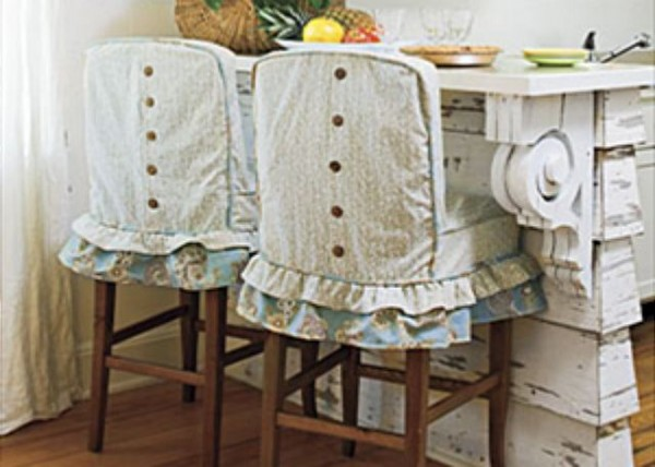 Slipcovered bar stools were featured in Southern Living