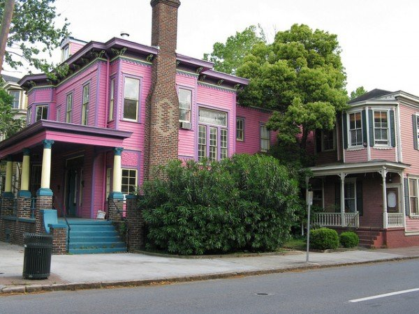 Two pink houses