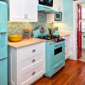 eclectic blue fun retro kitchen