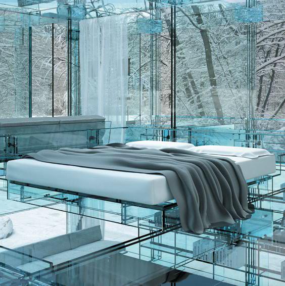 santambrogio glass house bedroom