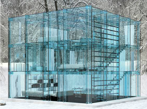 See-through glass house