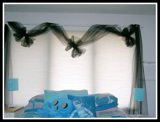 Black tulle bedroom curtains