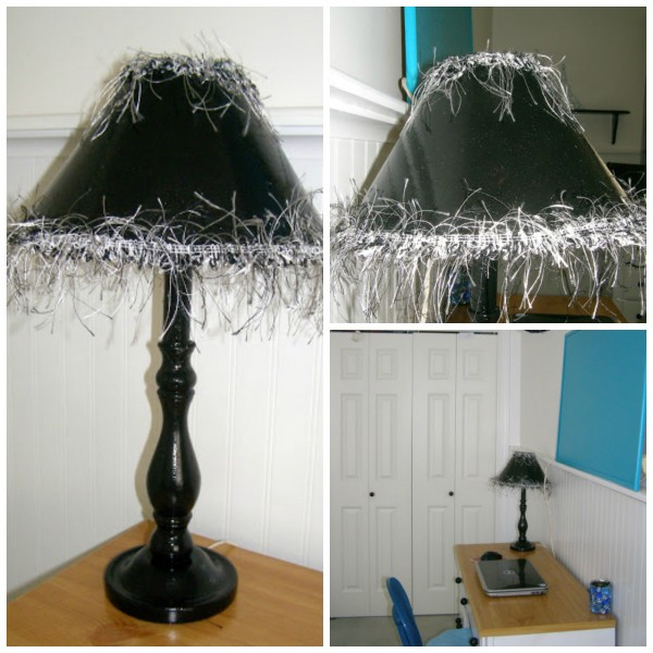 Black lamp with fun trim