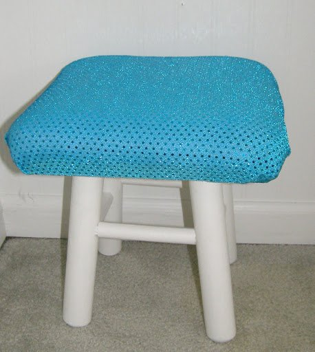 Turquoise sequin covered stool
