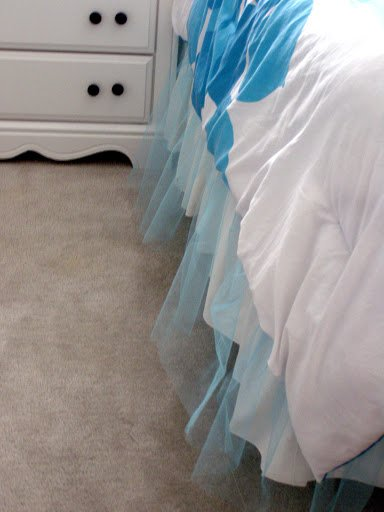 Turquoise tulle bedskirt