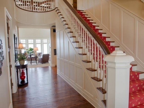 Bright stairway carpeting