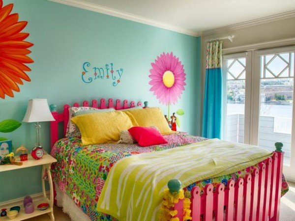 Pink headboard is a picket fence.