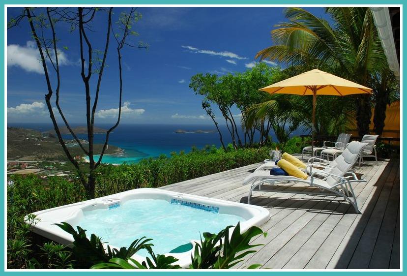 Villa Au Soleil Deck and sunken spa