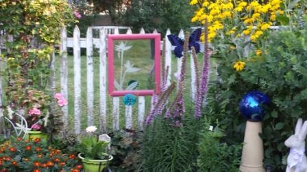 Pink garden mirror