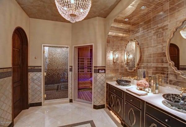 Double sink golden Bathroom